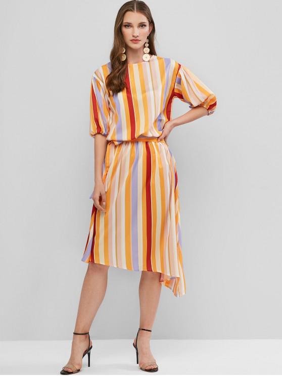 outfit Rainbow Striped Waist Tie Asymmetrical Dress - MULTI-A L
