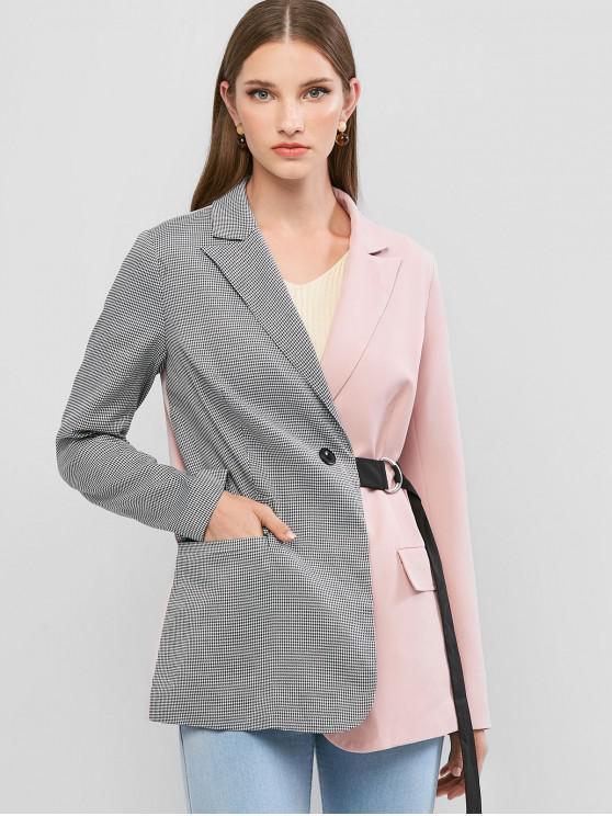 womens ZAFUL Buckle Waist Contrast Houndstooth Flap Pockets Blazer - PINK M