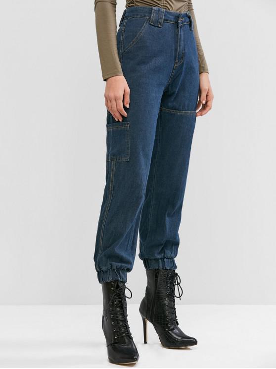 hot High Waisted Ninth Pockets Jogger Jeans - DENIM DARK BLUE S