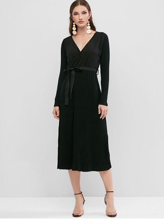 trendy Knit Belt Surplice Dress - BLACK XL