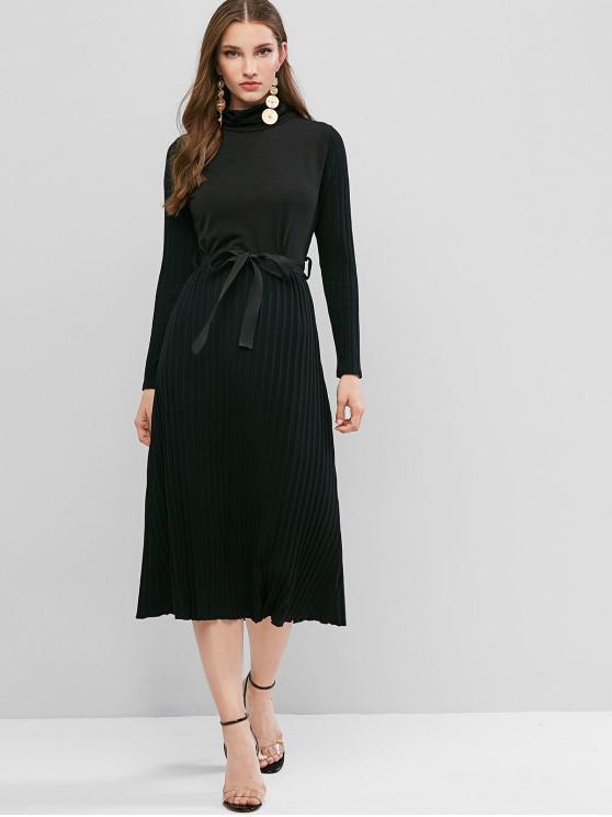 fashion Turtleneck Belted Midi Dress - BLACK S