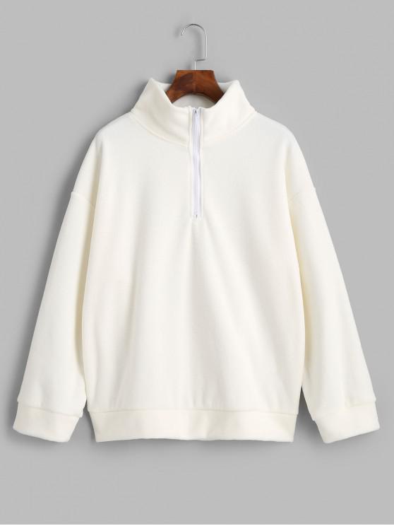 women Half-zip Fleece Sweatshirt - WHITE XL