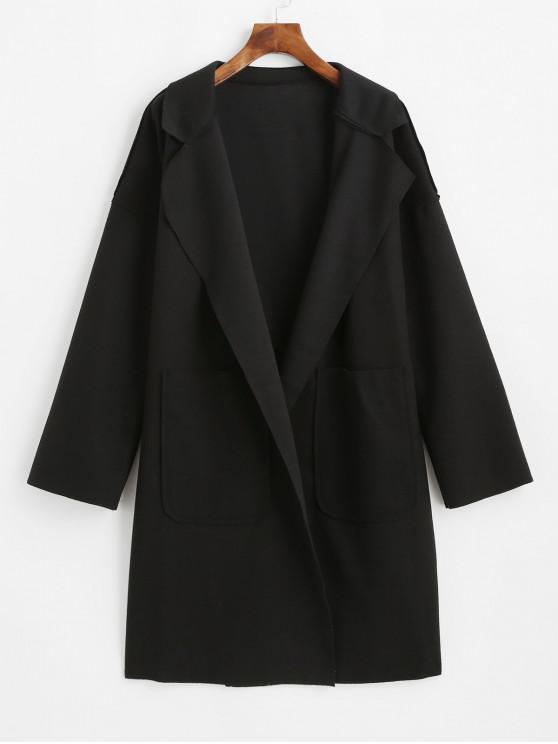 outfit Lapel Front Pocket Wool Blend Coat - BLACK S