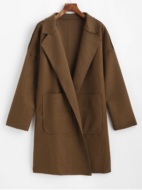 lady Lapel Front Pocket Wool Blend Coat - CAMEL BROWN 2XL