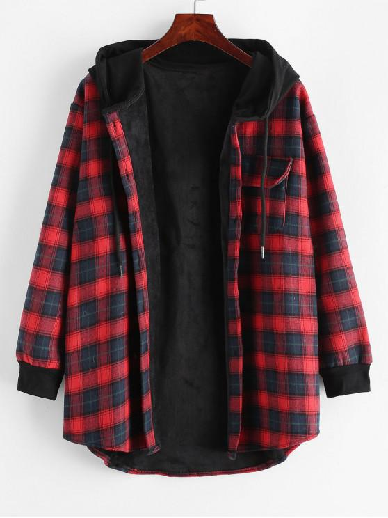 shops Plaid Button Up Pocket Hooded Coat - RED L