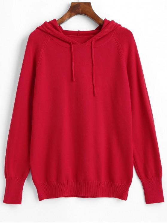 buy Raglan Sleeve Hooded Sweater - RED M