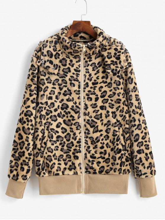 Леопардовый принт С капюшоном Молния Карман Пушистое Пальто - Леопард XL