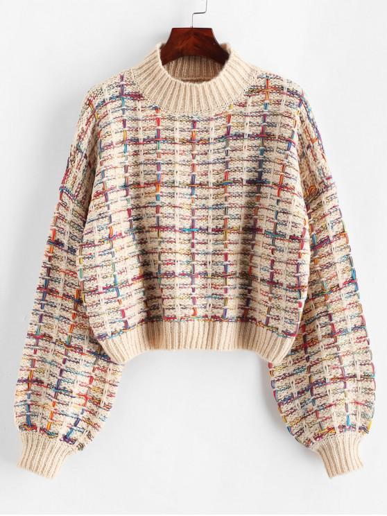 chic Lantern Sleeves Multicolor Chunky Sweater - WARM WHITE ONE SIZE