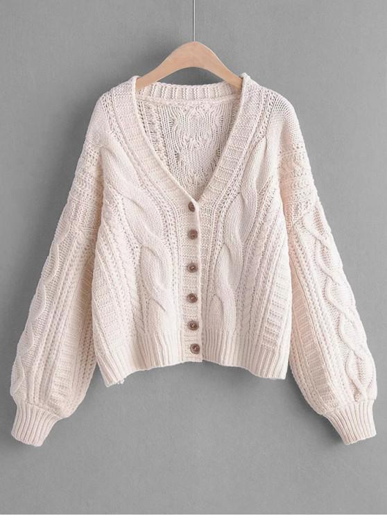 ladies Cable Knit Buttoned Chunky Cardigan - WHITE ONE SIZE