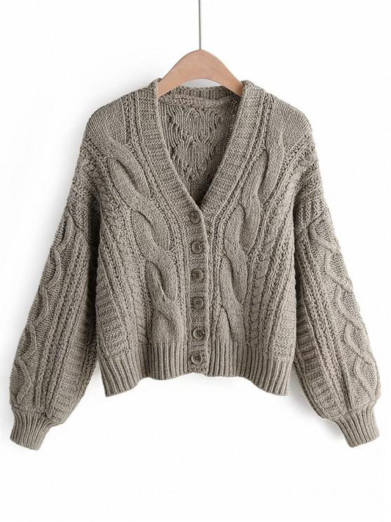 new Cable Knit Buttoned Chunky Cardigan - KHAKI ONE SIZE