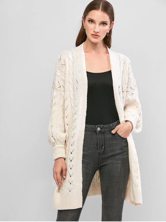 sale Lantern Sleeves Cable Knit Openwork Cardigan - WARM WHITE ONE SIZE