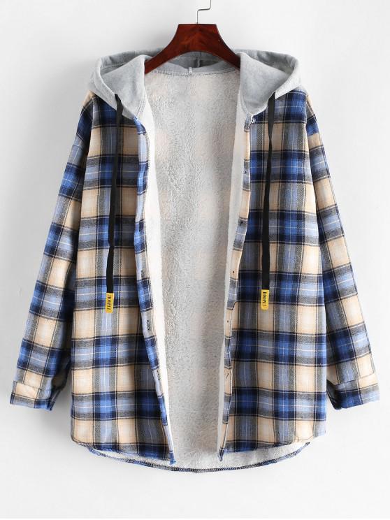 Manteau à Capuche Boutonné à Carreaux à Ourlet Courbe - Multi-D XL