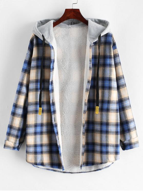 women's Plaid Buttoned Curved Hem Hooded Coat - MULTI-D M