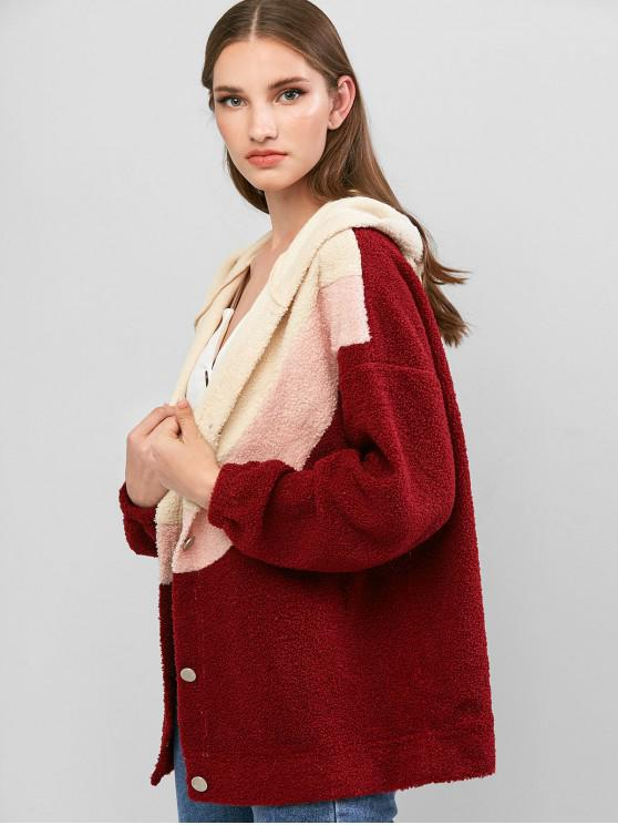womens ZAFUL Colorblock Button Up Hooded Teddy Jacket - RED WINE XL