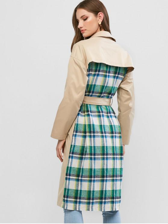 hot ZAFUL Plaid Panel Double Breasted Belted Trench Coat - CAMEL BROWN M