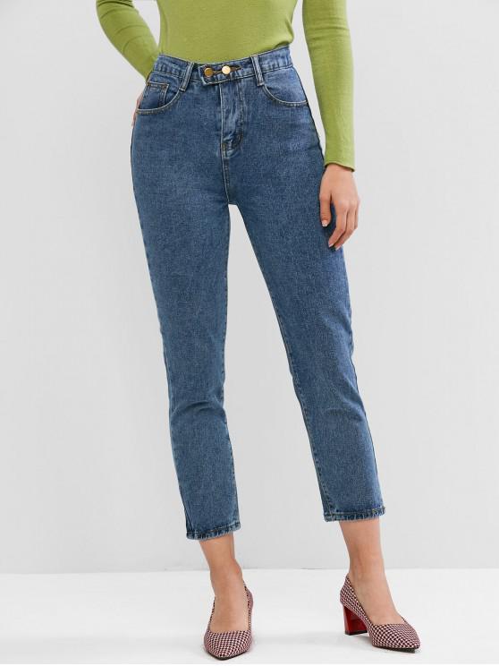 sale Zipper Fly Pocket High Waisted Jeans - DENIM BLUE M