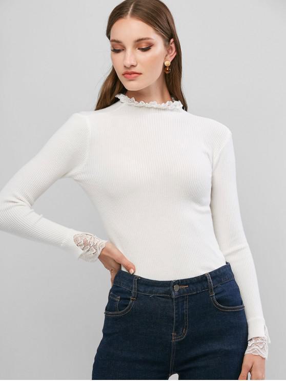 fashion Lace Ruffle Cuff Ribbed Slim Sweater - WHITE ONE SIZE