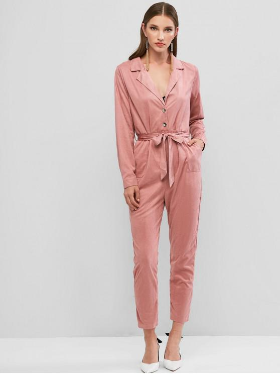 affordable Lapel Pocket Belted Maxi Jumpsuit - PINK XS