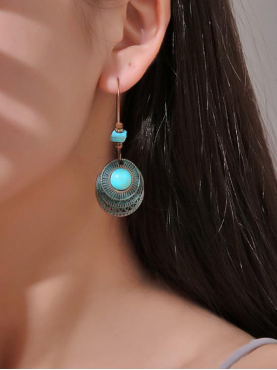 womens Faux Turquoise Hollow Out Round Drop Earrings - SEAWEED GREEN