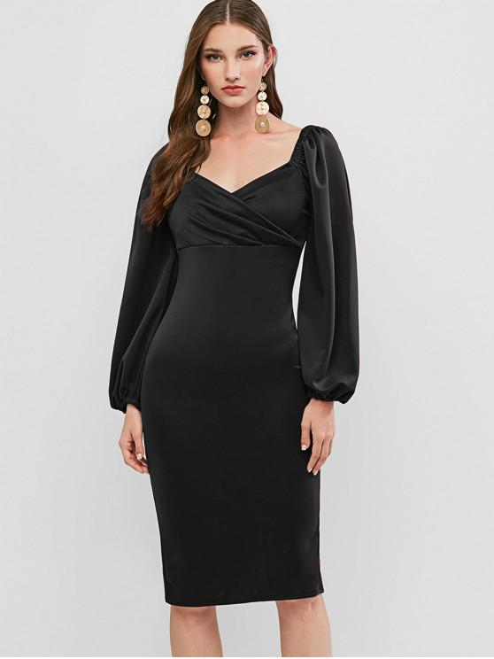 outfit Long Sleeve Sweetheart Bodycon Party Dress - BLACK S