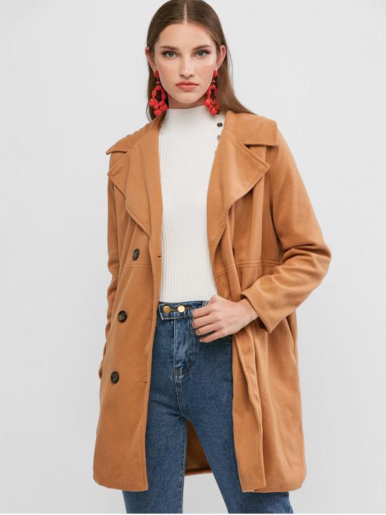 fashion Pocket Double Breasted Tunic Coat - LIGHT KHAKI M