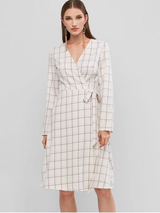 ZAFUL cu maneci lungi Plaid Wrap Dress - alb XL