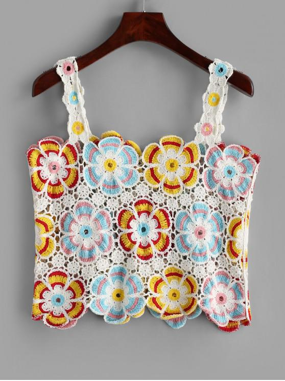 shop Floral Crochet Tank Top - MULTI-A ONE SIZE