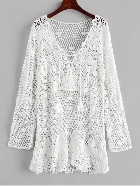 latest Lace-up Tassel Crochet Beach Dress - WHITE ONE SIZE