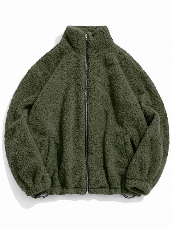 chic ZAFUL Faux Fur Solid Toggle Drawstring Fuzzy Jacket - ARMY GREEN 2XL