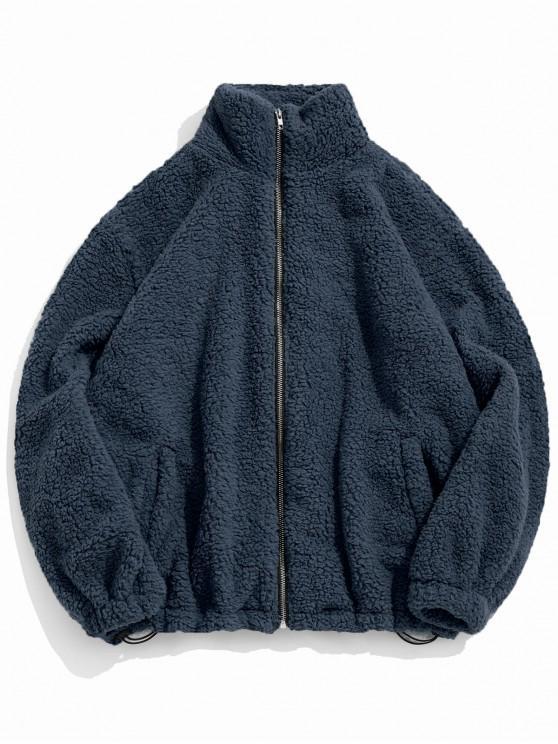 hot ZAFUL Faux Fur Solid Toggle Drawstring Fuzzy Jacket - DEEP BLUE M