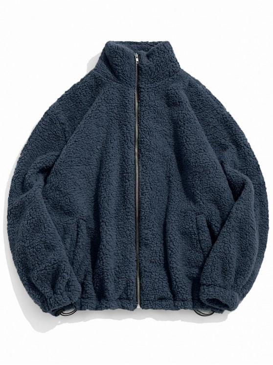 buy ZAFUL Faux Fur Solid Toggle Drawstring Fuzzy Jacket - DEEP BLUE S