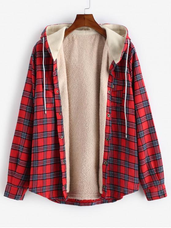 fancy Plaid Chest Pocket Fleece Drawstring Hooded Jacket - RED 2XL