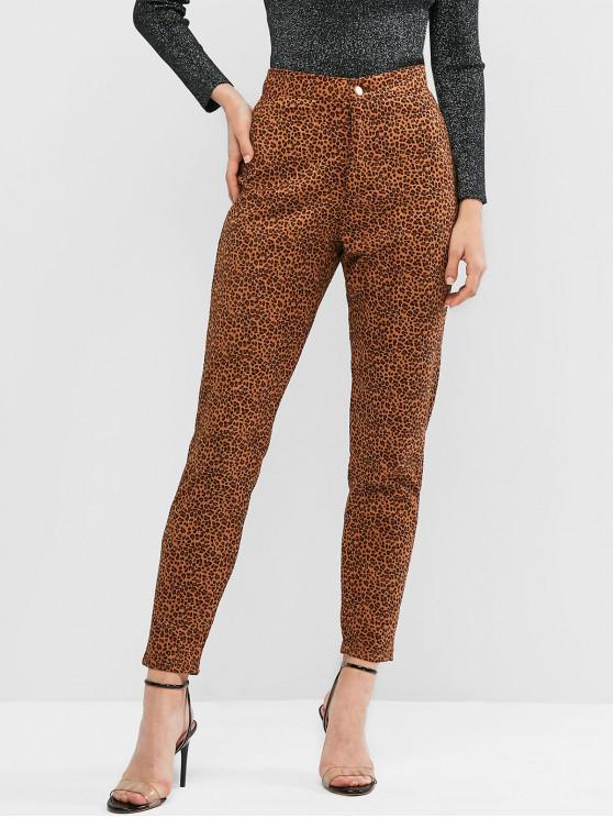 affordable Leopard Zipper Fly High Waisted Pants - LEOPARD XS