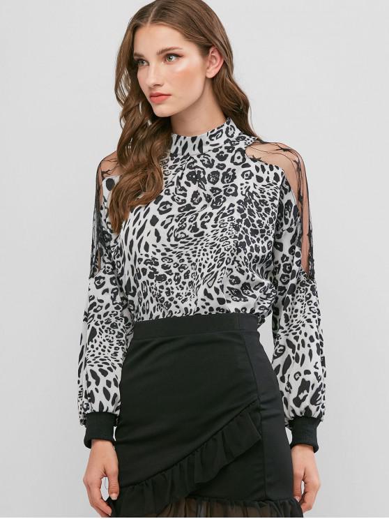 trendy Leopard Animal Print Mesh Panel Sheer Blouse - MULTI-B 2XL