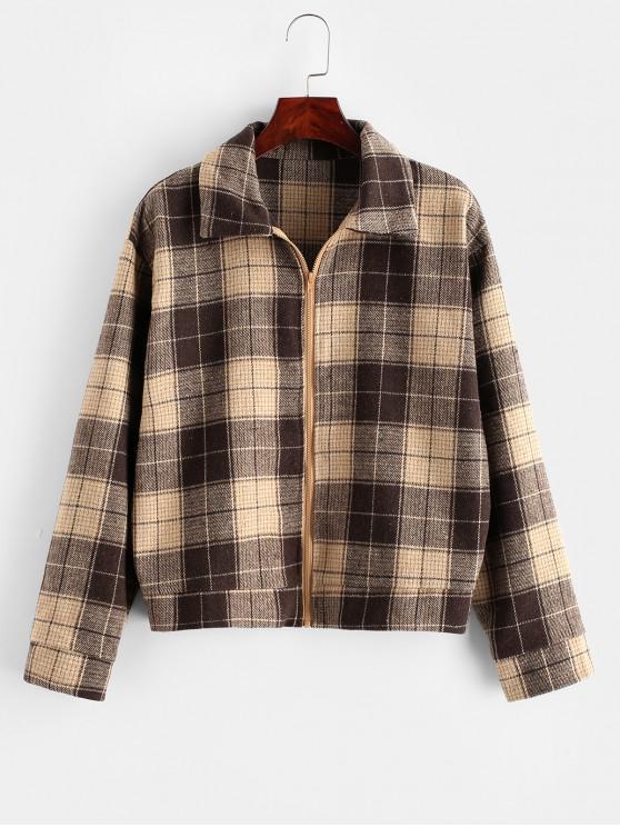 online ZAFUL Plaid Drop Shoulder Zip Up Jacket - COFFEE M