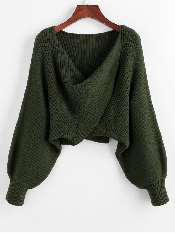 lady Twist Asymmetric Crop Sweater - DARK FOREST GREEN L