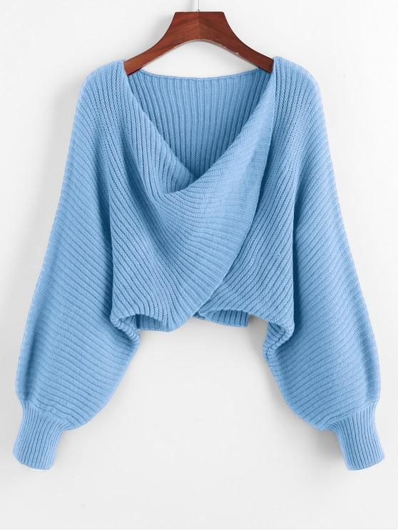 new Twist Asymmetric Crop Sweater - LIGHT SKY BLUE L