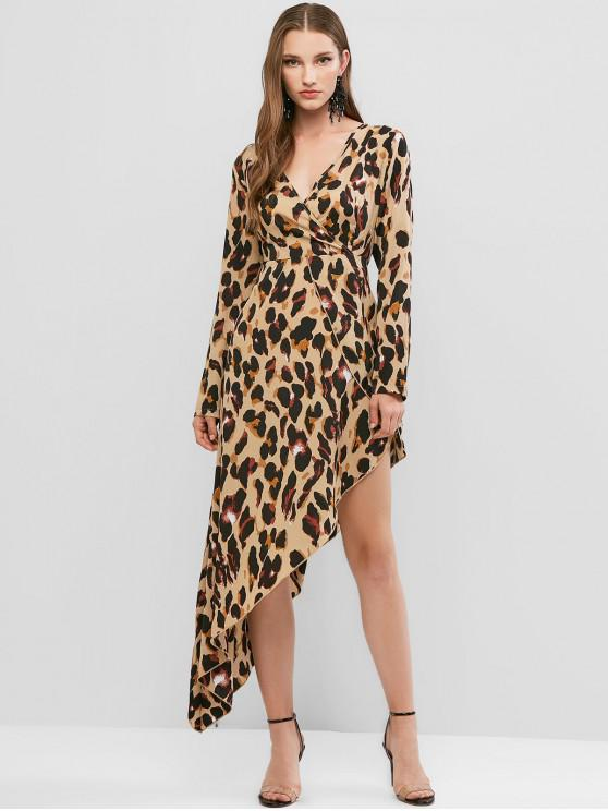 best Leopard Asymmetrical Surplice Dress - CAMEL BROWN L