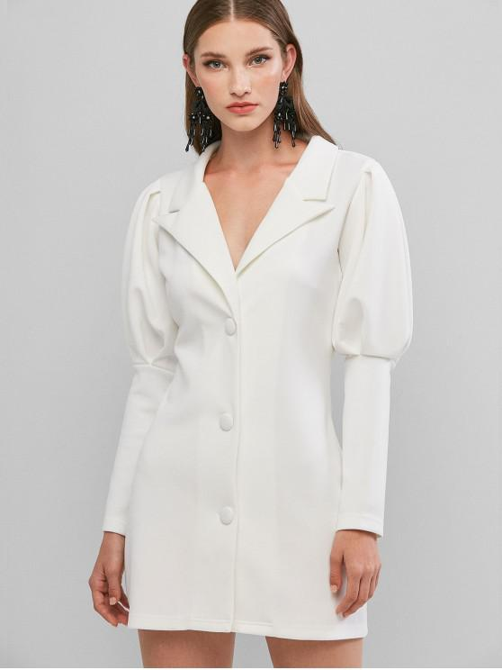 womens Long Sleeve Button Up Lapel Mini Dress - WHITE L