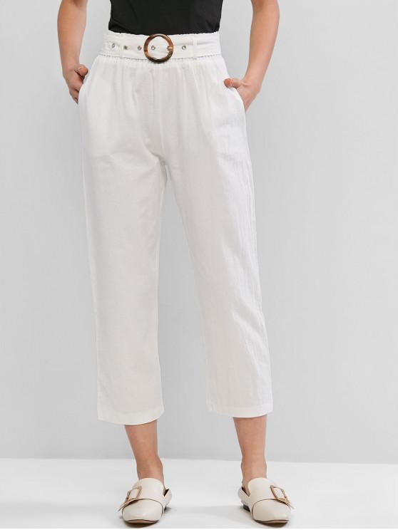 women Buckle Belted Straight Paperbag Pants - WHITE XL