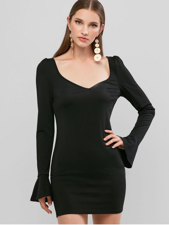 womens ZAFUL Plunging Poet Sleeve Bodycon Mini Dress - BLACK XL