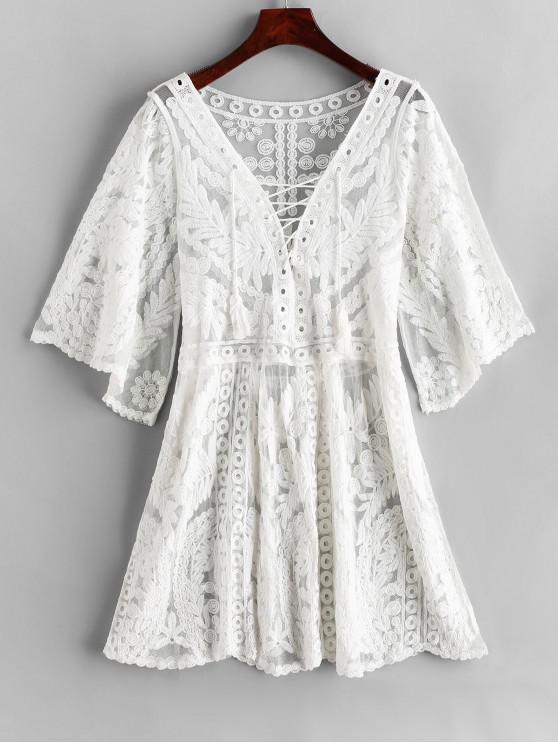 Robe de Plage Brodée en Maille à Lacets - Blanc Taille Unique