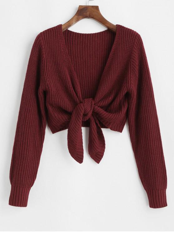 chic ZAFUL Plain Tie Hem Cropped Cardigan - RED WINE L