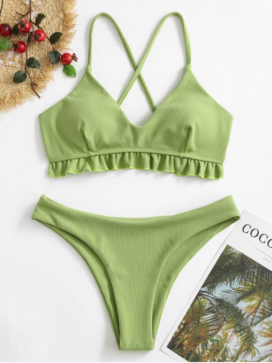 latest ZAFUL Ruffled Crisscross Ribbed Bikini Swimsuit - GREEN SNAKE L