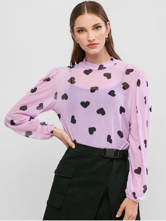 womens Mock Neck Valentine Heart Sheer Mesh Tee - PURPLE S