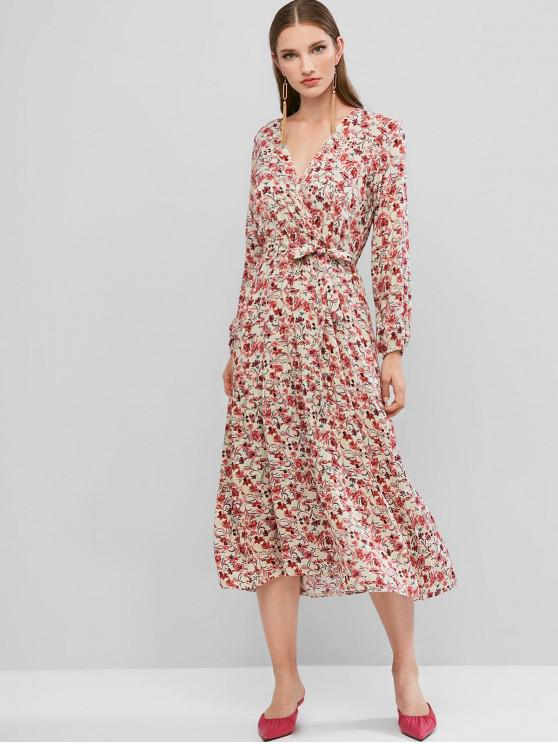 online Floral Belt Tea Length Surplice Dress - MULTI-A S