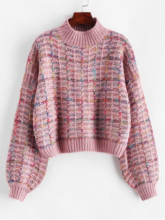 fashion Lantern Sleeves Multicolor Chunky Sweater - PINK ONE SIZE