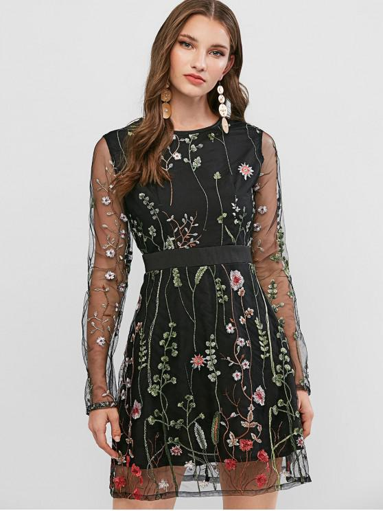 fashion ZAFUL Floral Embroidered Sheer Mesh Long Sleeve Dress - BLACK L
