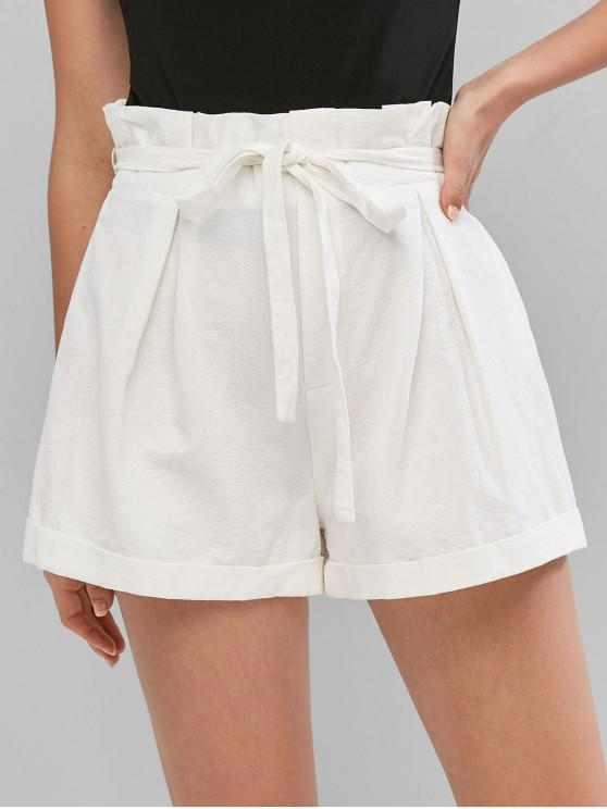 latest ZAFUL Belted Solid Cuffed Hem Paperbag Shorts - MILK WHITE XL