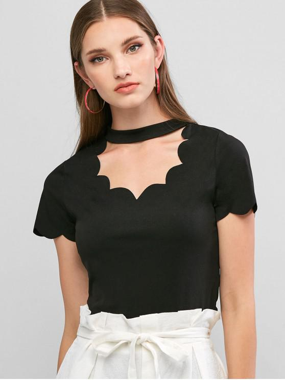 outfits ZAFUL Scalloped Cut Out Short Sleeve T-shirt - BLACK L